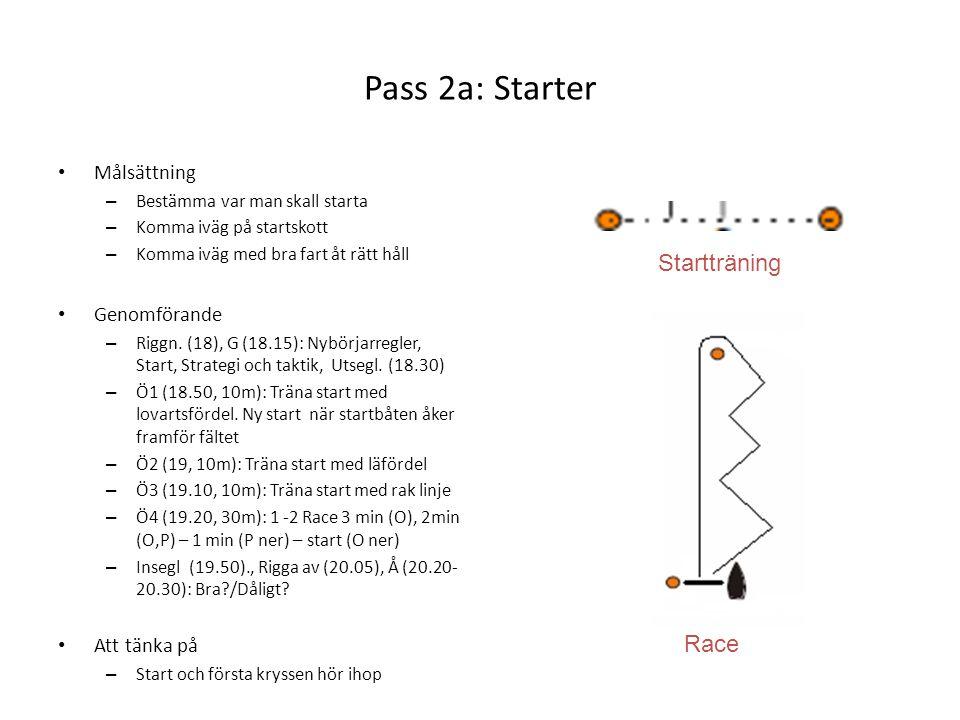 Pass 2a: Starter • Målsättning – Bestämma var man skall starta – Komma iväg på startskott – Komma iväg med bra fart åt rätt håll • Genomförande – Rigg