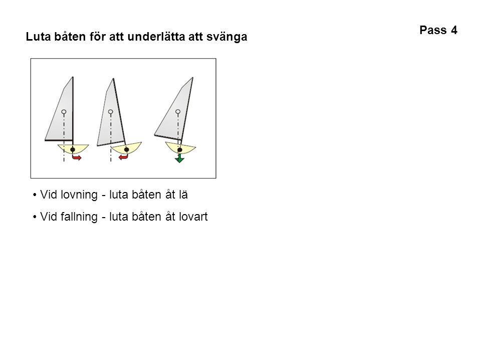 Luta båten för att underlätta att svänga • Vid lovning - luta båten åt lä • Vid fallning - luta båten åt lovart Pass 4
