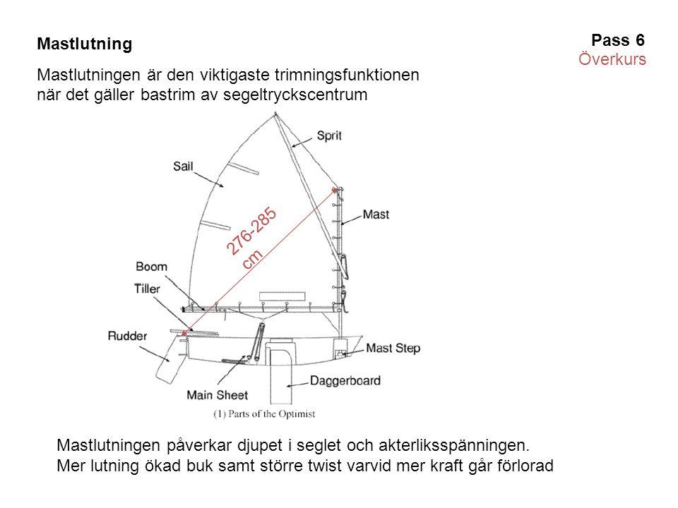 276-285 cm Mastlutning Mastlutningen är den viktigaste trimningsfunktionen när det gäller bastrim av segeltryckscentrum Mastlutningen påverkar djupet