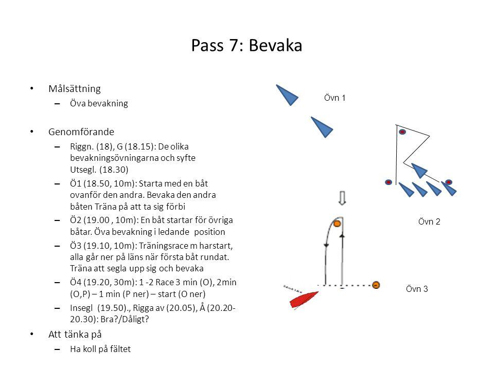 Pass 7: Bevaka • Målsättning – Öva bevakning • Genomförande – Riggn. (18), G (18.15): De olika bevakningsövningarna och syfte Utsegl. (18.30) – Ö1 (18