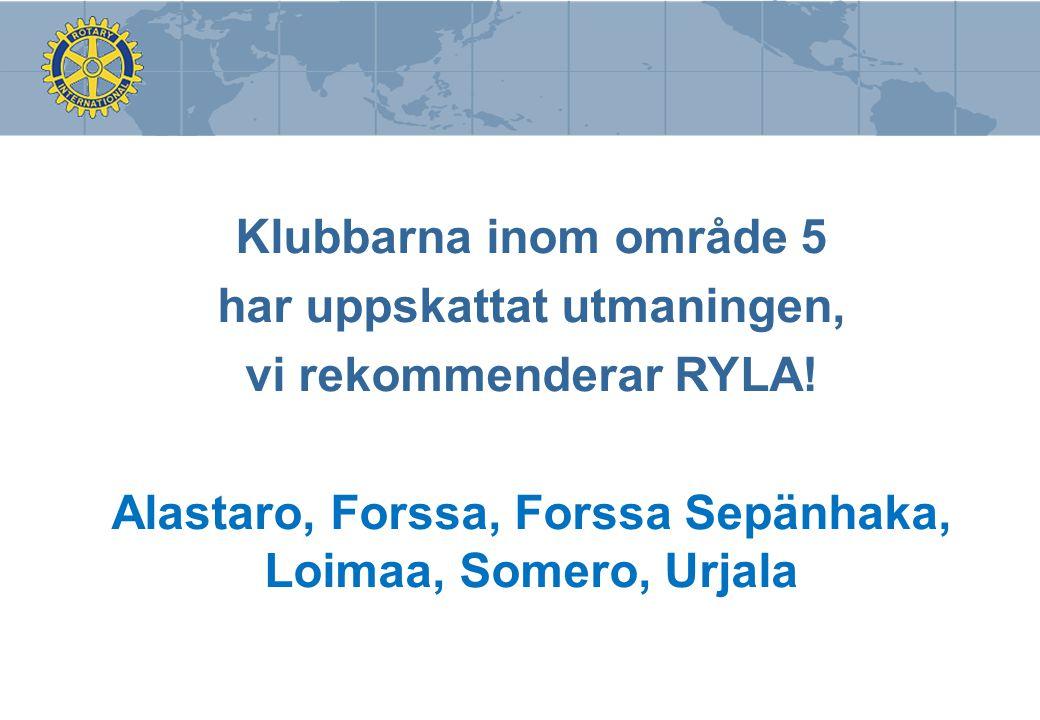 Klubbarna inom område 5 har uppskattat utmaningen, vi rekommenderar RYLA! Alastaro, Forssa, Forssa Sepänhaka, Loimaa, Somero, Urjala