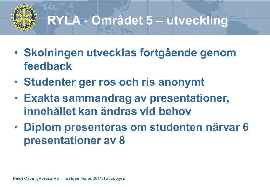 Heidi Cavén, Forssa Rk – höstseminarie 2011/Tavastkyro •Skolningen utvecklas fortgående genom feedback •Studenter ger ros och ris anonymt •Exakta samm