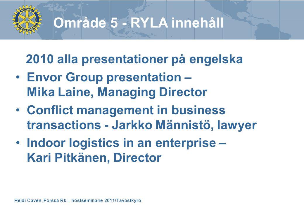 Heidi Cavén, Forssa Rk – höstseminarie 2011/Tavastkyro 2010 alla presentationer på engelska •Envor Group presentation – Mika Laine, Managing Director