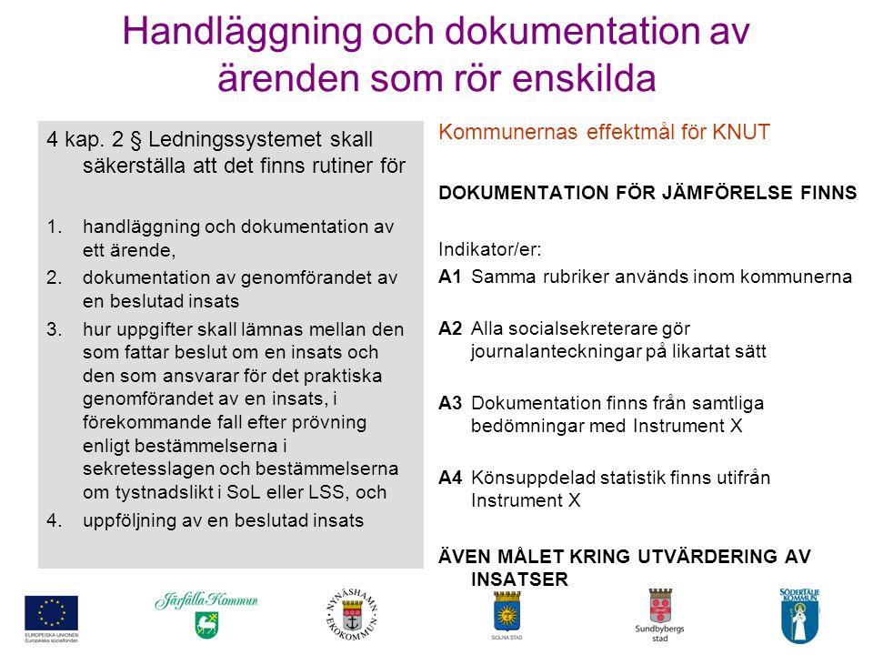 10 Handläggning och dokumentation av ärenden som rör enskilda Kommunernas effektmål för KNUT DOKUMENTATION FÖR JÄMFÖRELSE FINNS Indikator/er: A1Samma