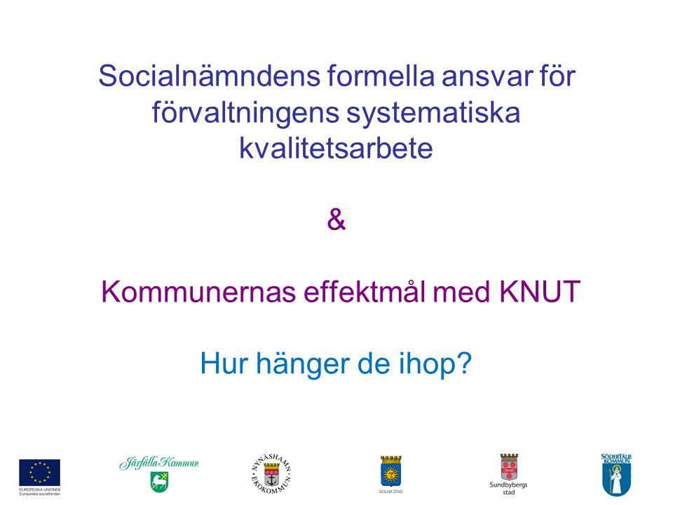 2 Socialnämndens formella ansvar för förvaltningens systematiska kvalitetsarbete & Kommunernas effektmål med KNUT Hur hänger de ihop?