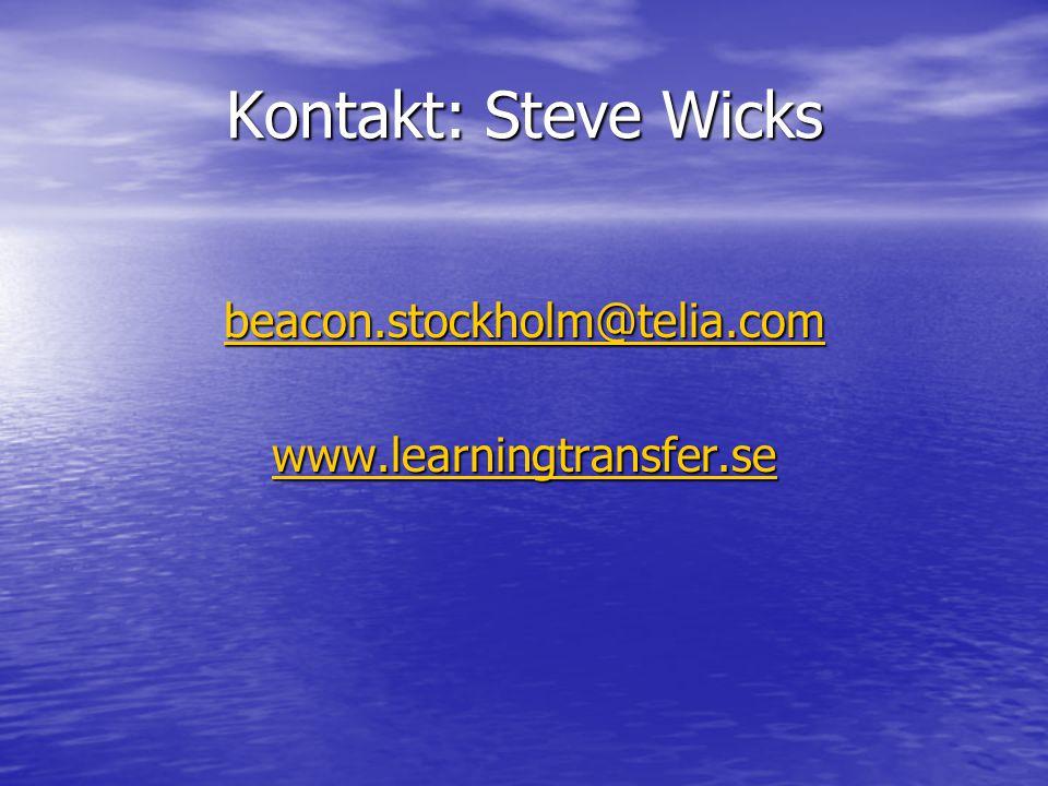 Kontakt: Steve Wicks beacon.stockholm@telia.com www.learningtransfer.se