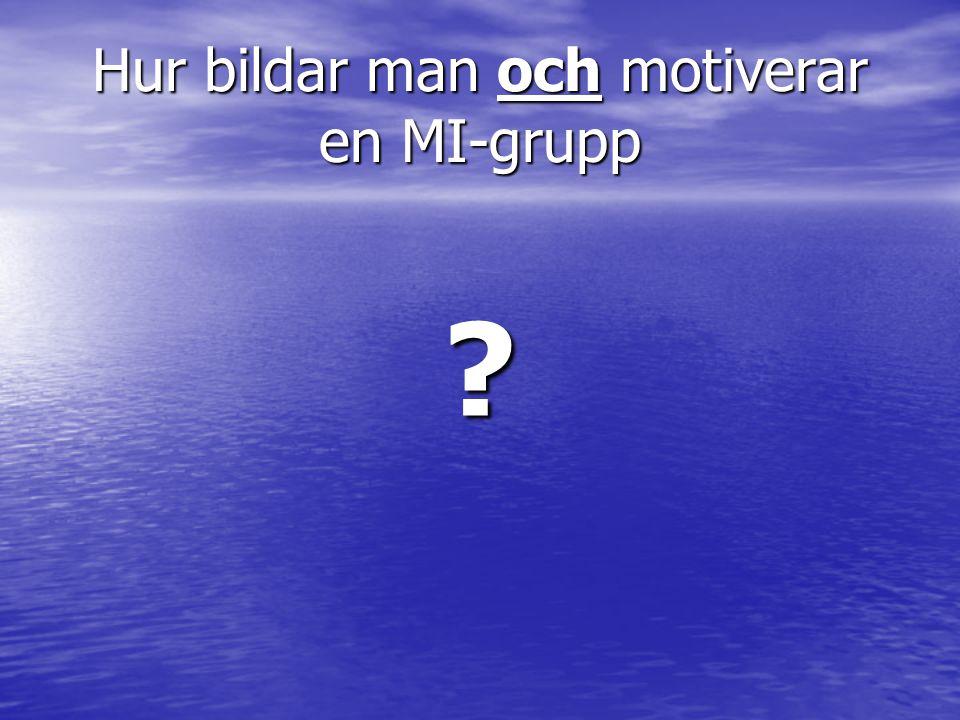 Hur bildar man och motiverar en MI-grupp ?