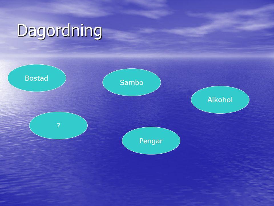 Dagordning Bostad Sambo Pengar ? Alkohol