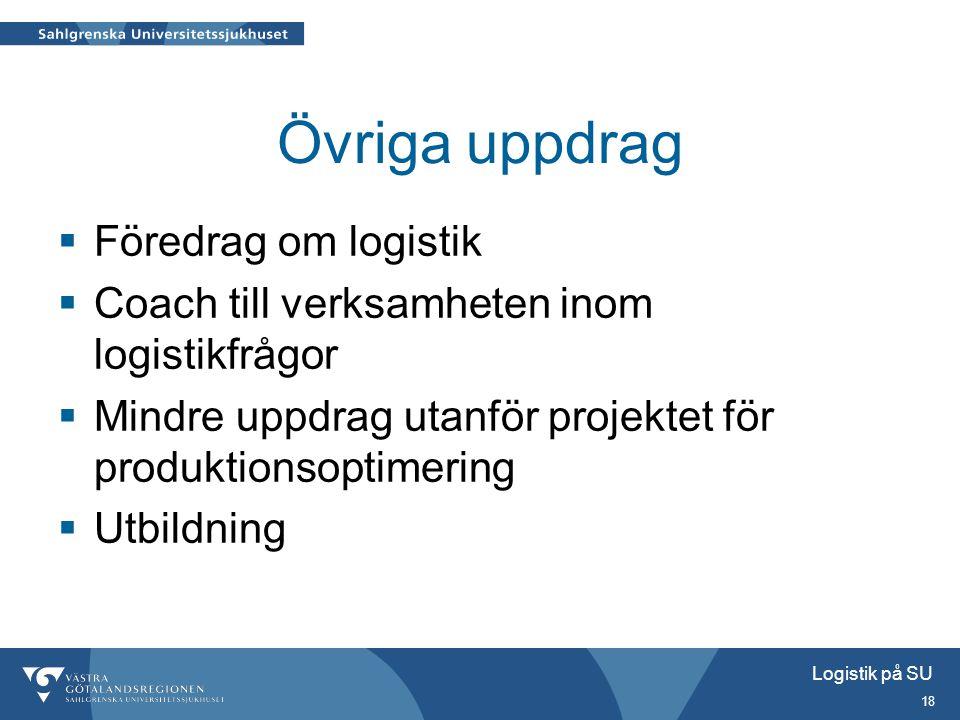 Logistik på SU 18 Övriga uppdrag  Föredrag om logistik  Coach till verksamheten inom logistikfrågor  Mindre uppdrag utanför projektet för produktio