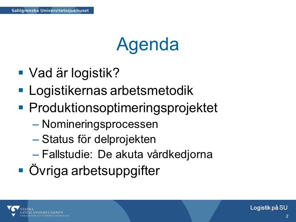 2 Agenda  Vad är logistik?  Logistikernas arbetsmetodik  Produktionsoptimeringsprojektet –Nomineringsprocessen –Status för delprojekten –Fallstudie