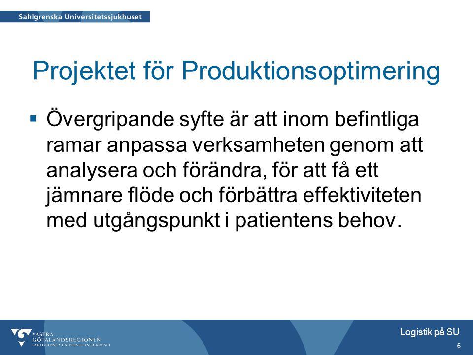 Logistik på SU 6 Projektet för Produktionsoptimering  Övergripande syfte är att inom befintliga ramar anpassa verksamheten genom att analysera och fö