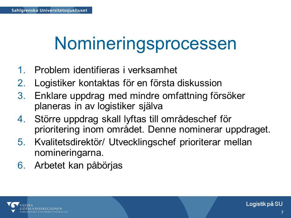 Logistik på SU 7 Nomineringsprocessen 1.Problem identifieras i verksamhet 2.Logistiker kontaktas för en första diskussion 3.Enklare uppdrag med mindre