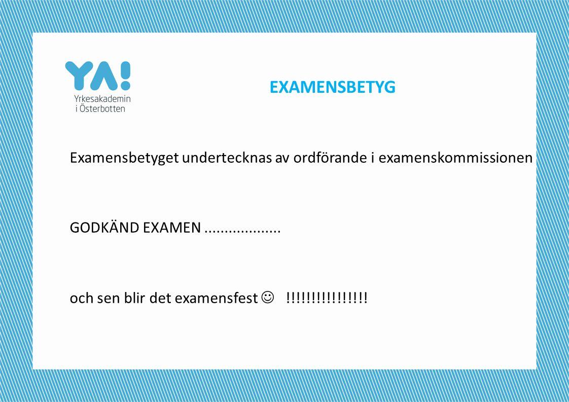EXAMENSBETYG Examensbetyget undertecknas av ordförande i examenskommissionen GODKÄND EXAMEN................... och sen blir det examensfest  !!!!!!!!