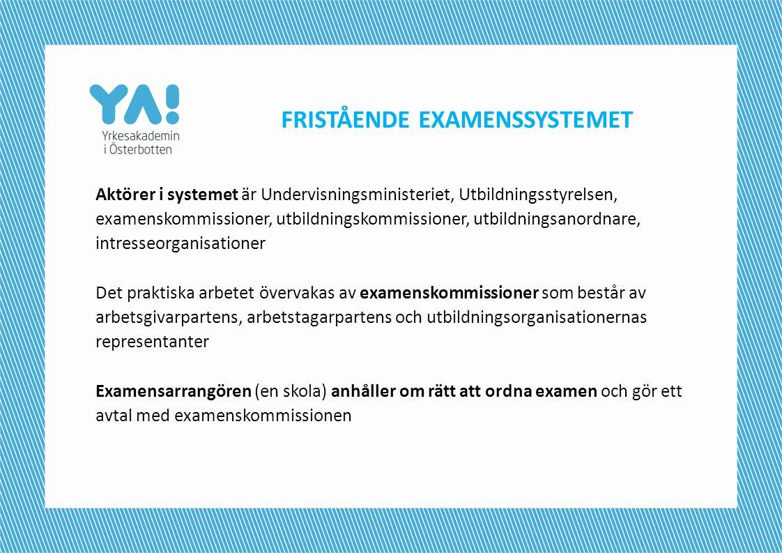 FRISTÅENDE EXAMENSSYSTEMET Aktörer i systemet är Undervisningsministeriet, Utbildningsstyrelsen, examenskommissioner, utbildningskommissioner, utbildn