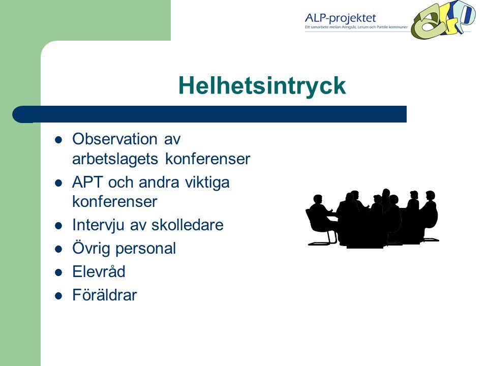 Helhetsintryck  Observation av arbetslagets konferenser  APT och andra viktiga konferenser  Intervju av skolledare  Övrig personal  Elevråd  Föräldrar