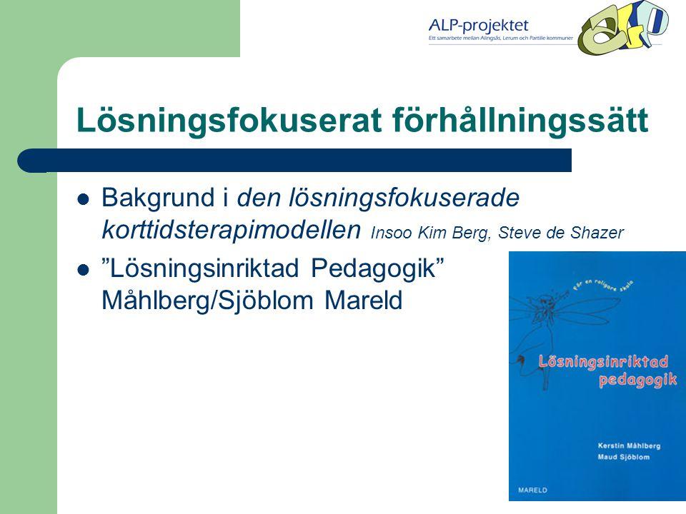 Lösningsfokuserat förhållningssätt  Bakgrund i den lösningsfokuserade korttidsterapimodellen Insoo Kim Berg, Steve de Shazer  Lösningsinriktad Pedagogik Måhlberg/Sjöblom Mareld