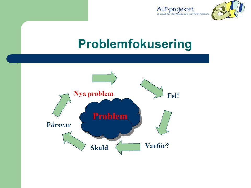 Problemfokusering Varför? Fel! Skuld Försvar Nya problem Problem