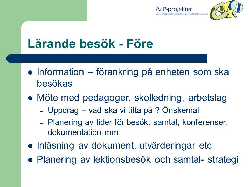 Lärande besök på Kullingsbergsskolan i Alingsås  Våren 2003  Uppdrag: Hur märks det i verksamheten att vi arbetar utifrån en lösningsinriktad pedagogik.