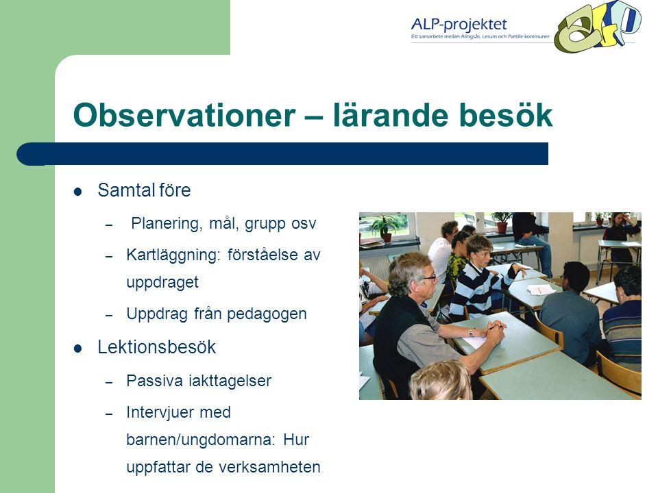 Observationer – lärande besök  Samtal före – Planering, mål, grupp osv – Kartläggning: förståelse av uppdraget – Uppdrag från pedagogen  Lektionsbesök – Passiva iakttagelser – Intervjuer med barnen/ungdomarna: Hur uppfattar de verksamheten