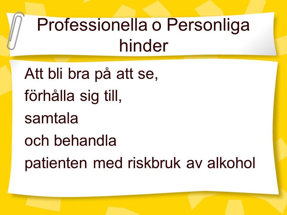 Professionella o Personliga hinder Att bli bra på att se, förhålla sig till, samtala och behandla patienten med riskbruk av alkohol