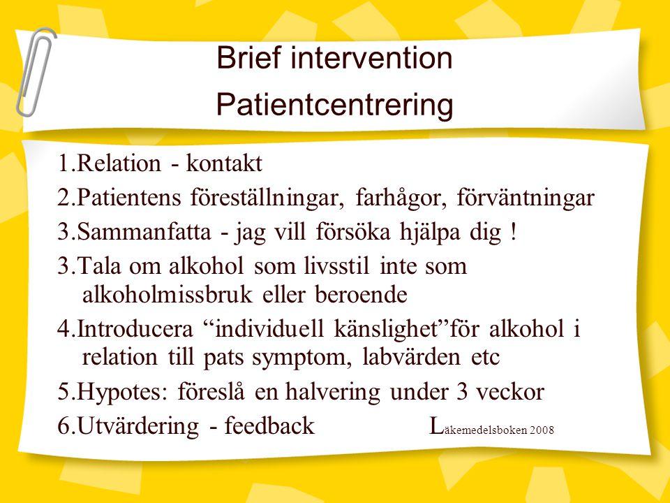 Brief intervention Patientcentrering 1.Relation - kontakt 2.Patientens föreställningar, farhågor, förväntningar 3.Sammanfatta - jag vill försöka hjälp