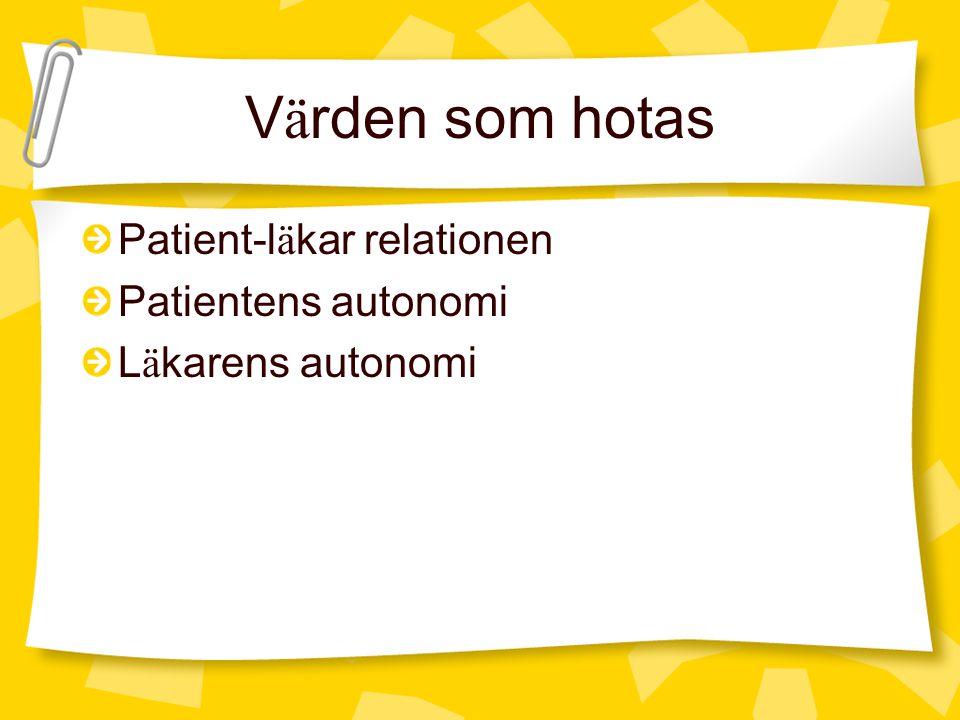 V ä rden som hotas Patient-l ä kar relationen Patientens autonomi L ä karens autonomi