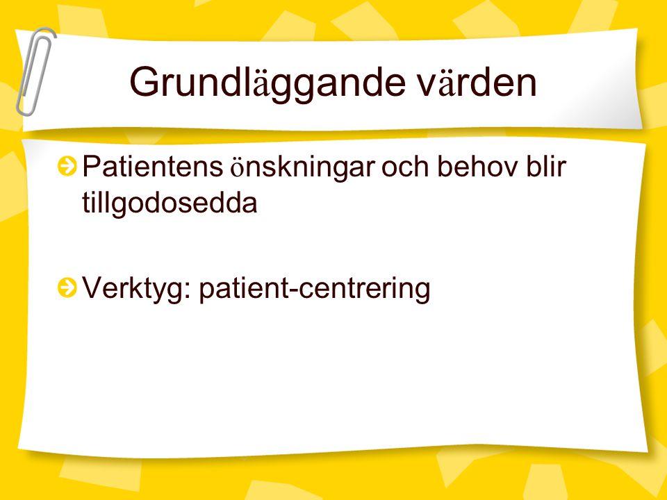 Grundl ä ggande v ä rden Patientens ö nskningar och behov blir tillgodosedda Verktyg: patient-centrering