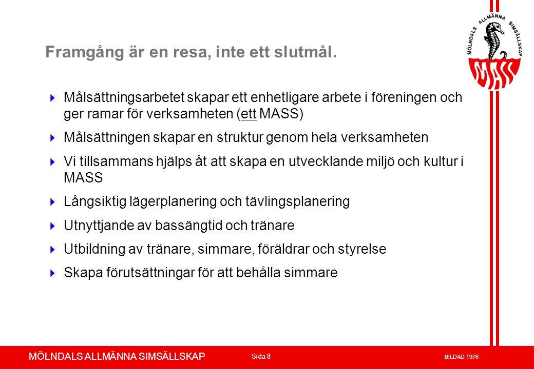 Volvo 3P - Product Development Azuthor : xxxxxxx 23-May-02 Page 9 MÖLNDALS ALLMÄNNA SIMSÄLLSKAP Sida 9 BILDAD 1976 MASS Mål 2008-2012 MASS har en målsättning att 2012 bli en i Sverige etablerad Topp 10 i klubb i simning, målet ska nås med egna simmare.
