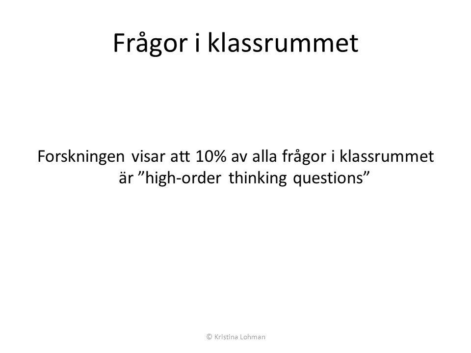 Frågor i klassrummet Forskningen visar att 10% av alla frågor i klassrummet är high-order thinking questions © Kristina Lohman