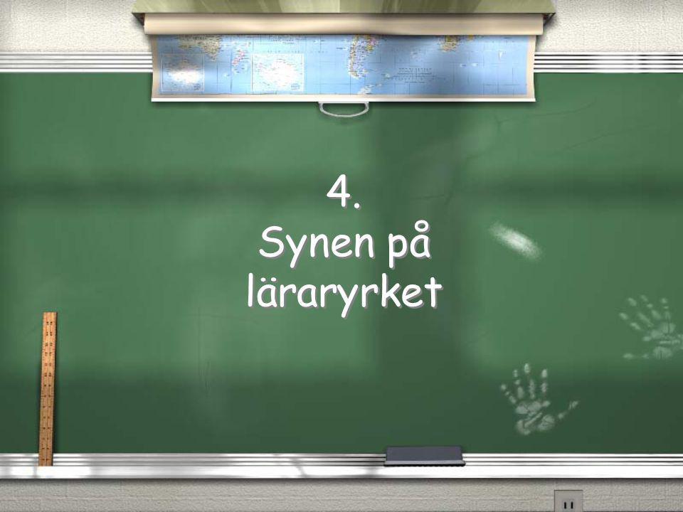 4. Synen på läraryrket 4. Synen på läraryrket