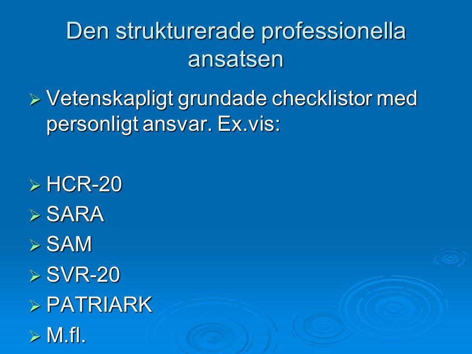 Den strukturerade professionella ansatsen  Vetenskapligt grundade checklistor med personligt ansvar. Ex.vis:  HCR-20  SARA  SAM  SVR-20  PATRIAR