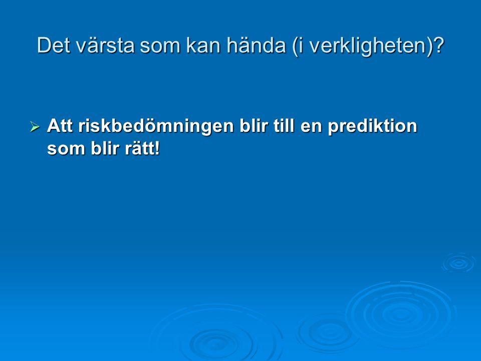 Det värsta som kan hända (i verkligheten)?  Att riskbedömningen blir till en prediktion som blir rätt!