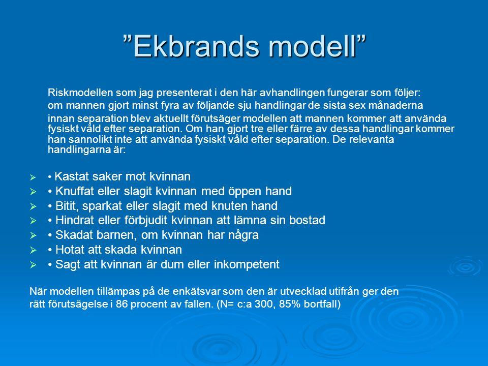 """""""Ekbrands modell"""" Riskmodellen som jag presenterat i den här avhandlingen fungerar som följer: om mannen gjort minst fyra av följande sju handlingar d"""