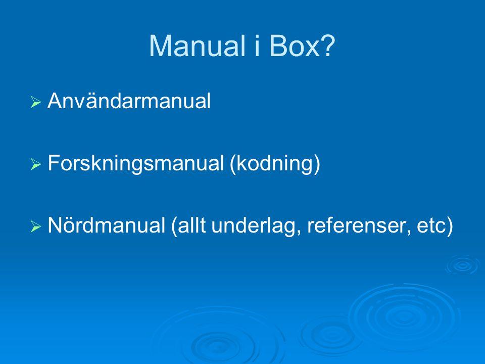 Manual i Box?  Användarmanual  Forskningsmanual (kodning)  Nördmanual (allt underlag, referenser, etc)
