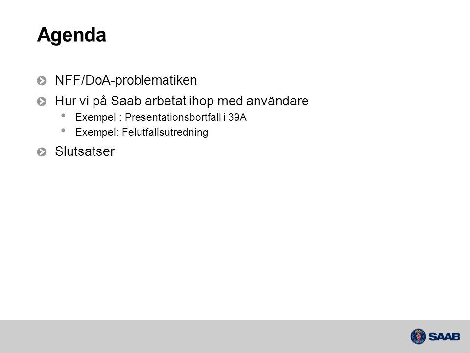 Agenda NFF/DoA-problematiken Hur vi på Saab arbetat ihop med användare • Exempel : Presentationsbortfall i 39A • Exempel: Felutfallsutredning Slutsats