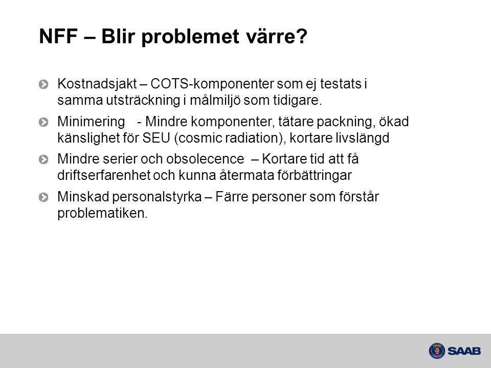 NFF – Blir problemet värre? Kostnadsjakt – COTS-komponenter som ej testats i samma utsträckning i målmiljö som tidigare. Minimering- Mindre komponente