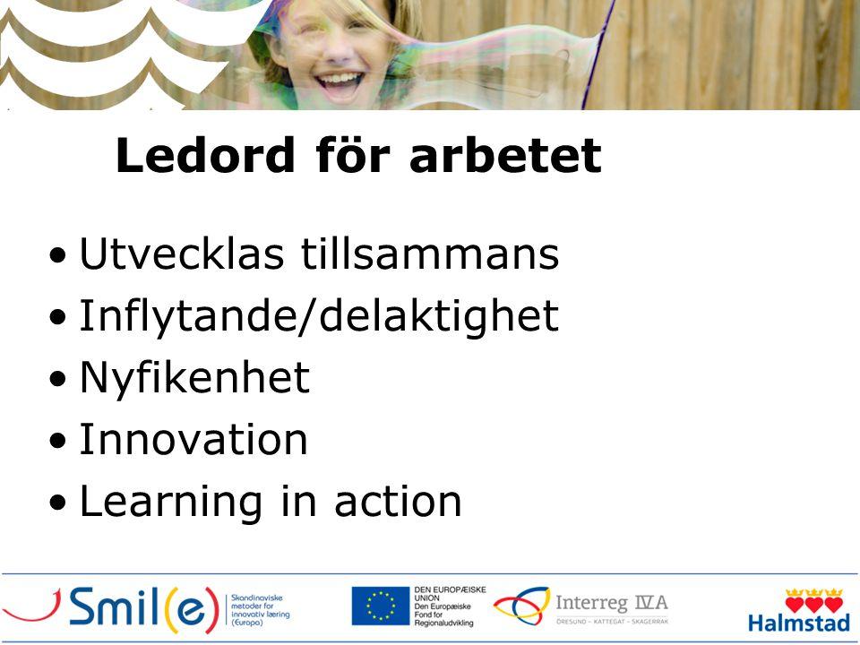Ledord för arbetet •Utvecklas tillsammans •Inflytande/delaktighet •Nyfikenhet •Innovation •Learning in action