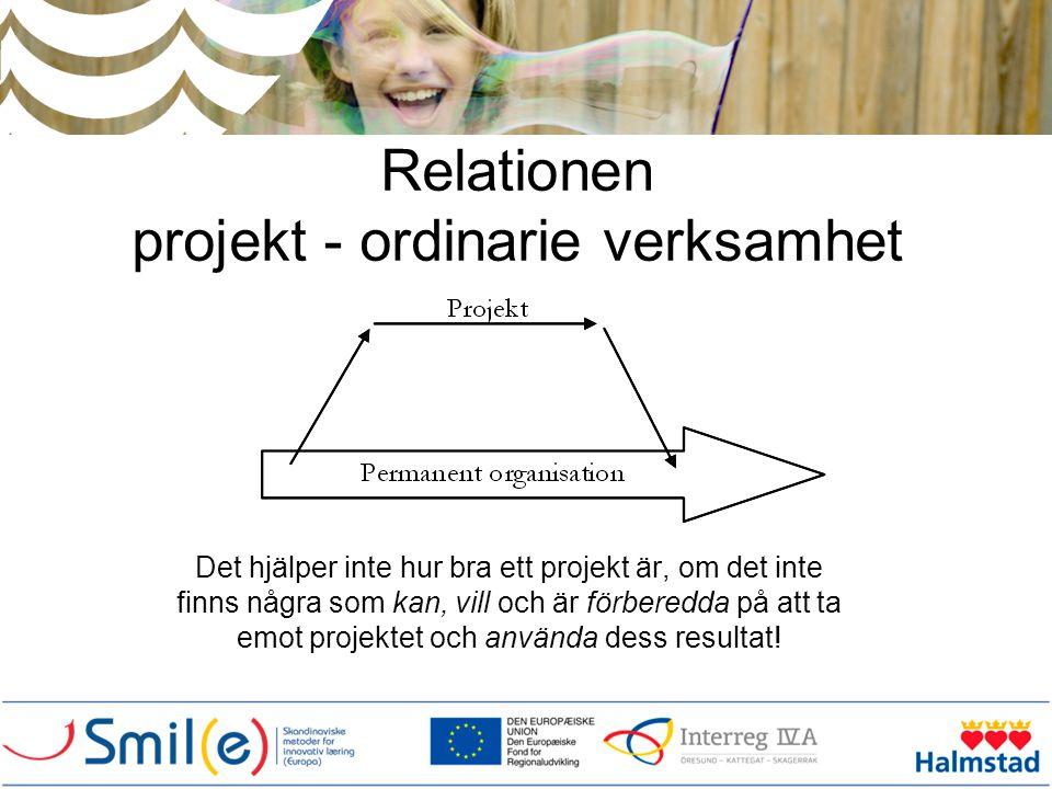 Relationen projekt - ordinarie verksamhet Det hjälper inte hur bra ett projekt är, om det inte finns några som kan, vill och är förberedda på att ta e
