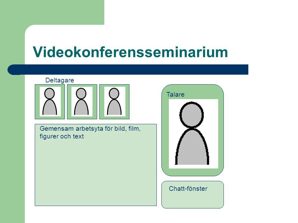 Synkrona seminarier via IKT-stöd  Videolänk  Videokonferens med webbkameror  Chatt-seminarium