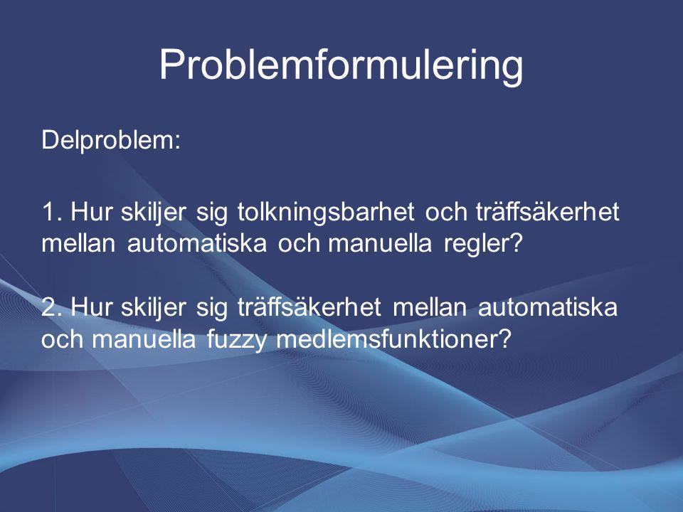 Problemformulering Delproblem: 1.
