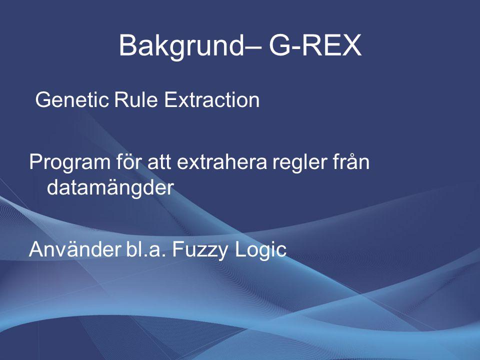 Bakgrund– G-REX Genetic Rule Extraction Program för att extrahera regler från datamängder Använder bl.a. Fuzzy Logic