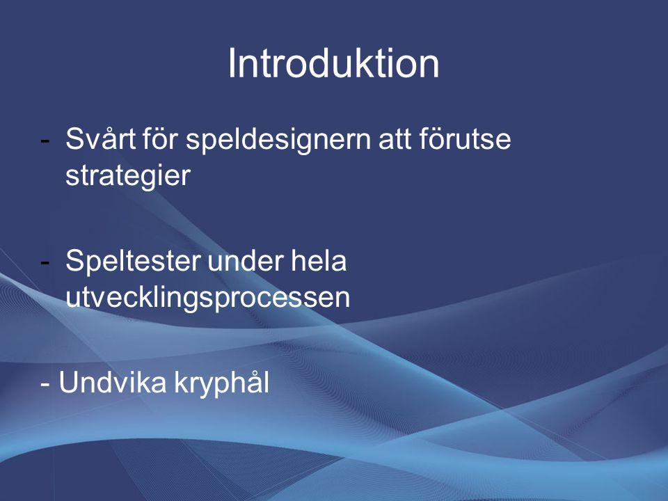 Introduktion -Svårt för speldesignern att förutse strategier -Speltester under hela utvecklingsprocessen - Undvika kryphål