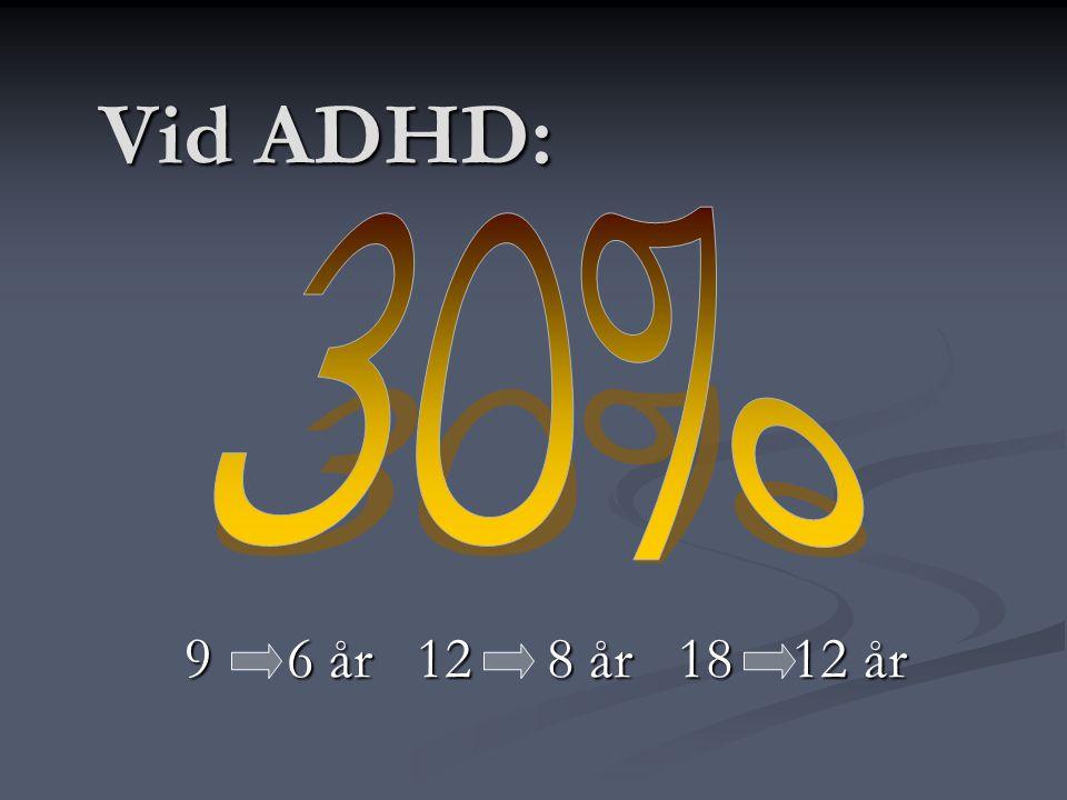 Vid ADHD: 9 6 år 12 8 år 18 12 år