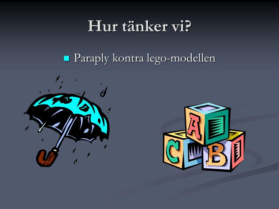 Hur tänker vi?  Paraply kontra lego-modellen