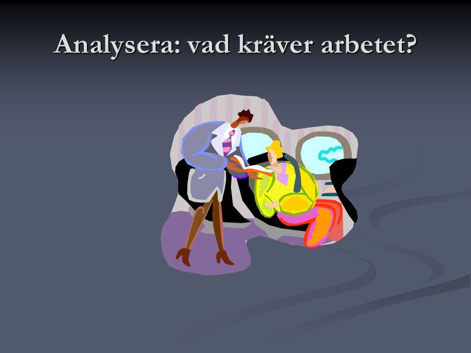 Analysera: vad kräver arbetet?