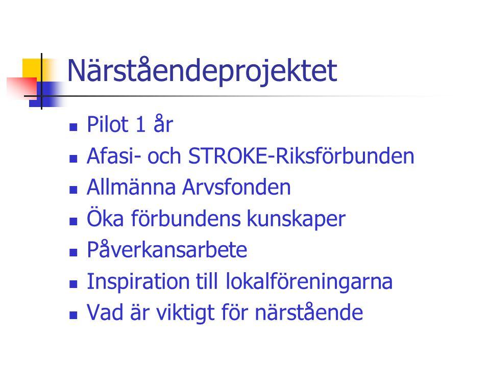 Närståendeprojektet  Pilot 1 år  Afasi- och STROKE-Riksförbunden  Allmänna Arvsfonden  Öka förbundens kunskaper  Påverkansarbete  Inspiration till lokalföreningarna  Vad är viktigt för närstående