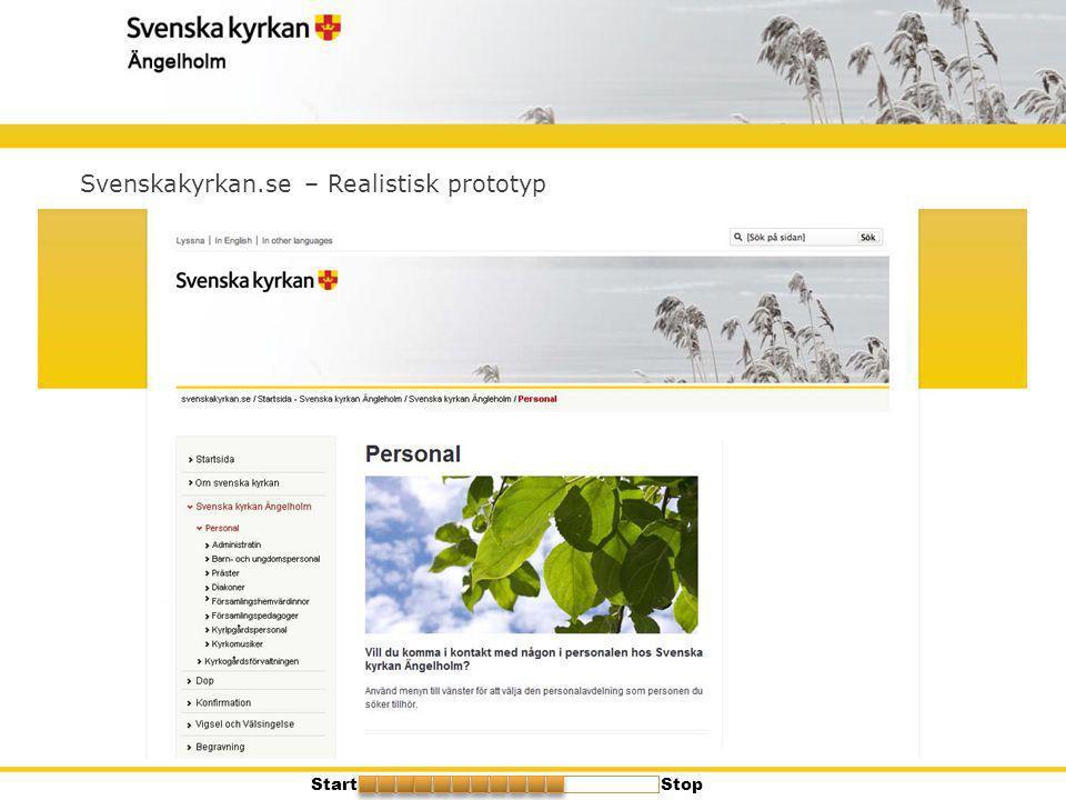 Svenskakyrkan.se – Realistisk prototyp StartStop
