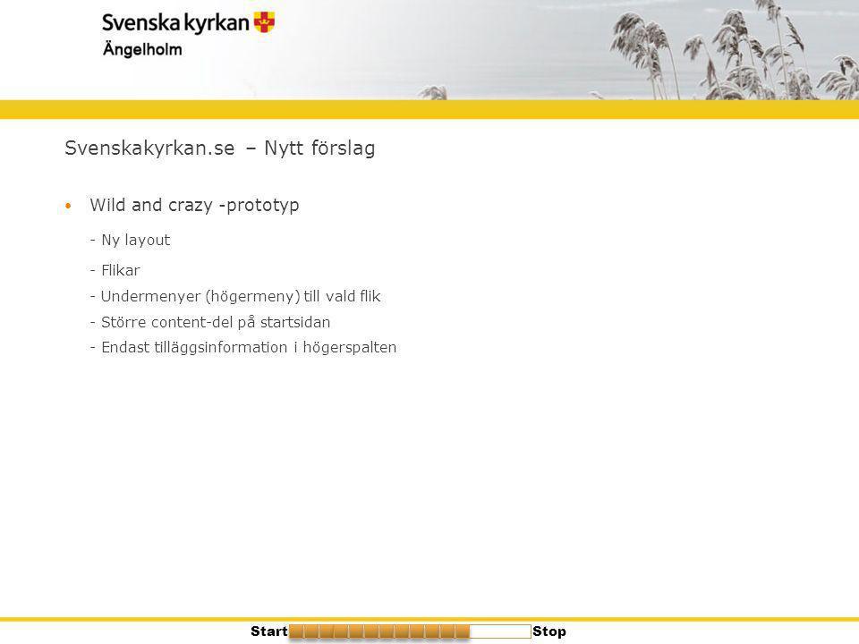 Svenskakyrkan.se – Nytt förslag  Wild and crazy -prototyp - Ny layout - Flikar - Undermenyer (högermeny) till vald flik - Större content-del på start