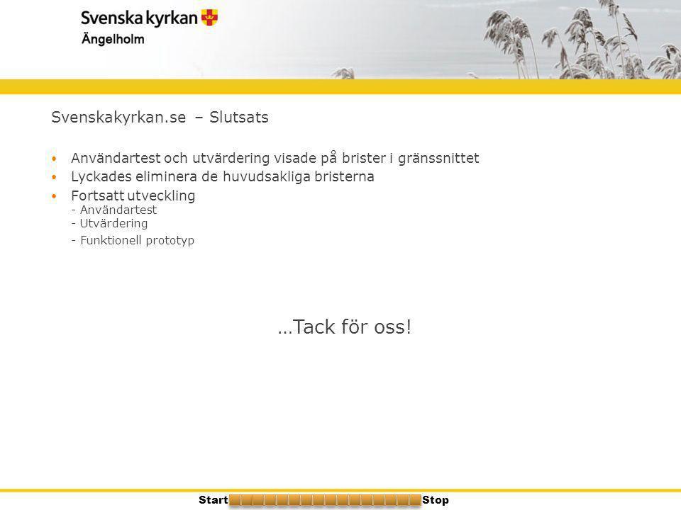 Svenskakyrkan.se – Slutsats  Användartest och utvärdering visade på brister i gränssnittet  Lyckades eliminera de huvudsakliga bristerna  Fortsatt
