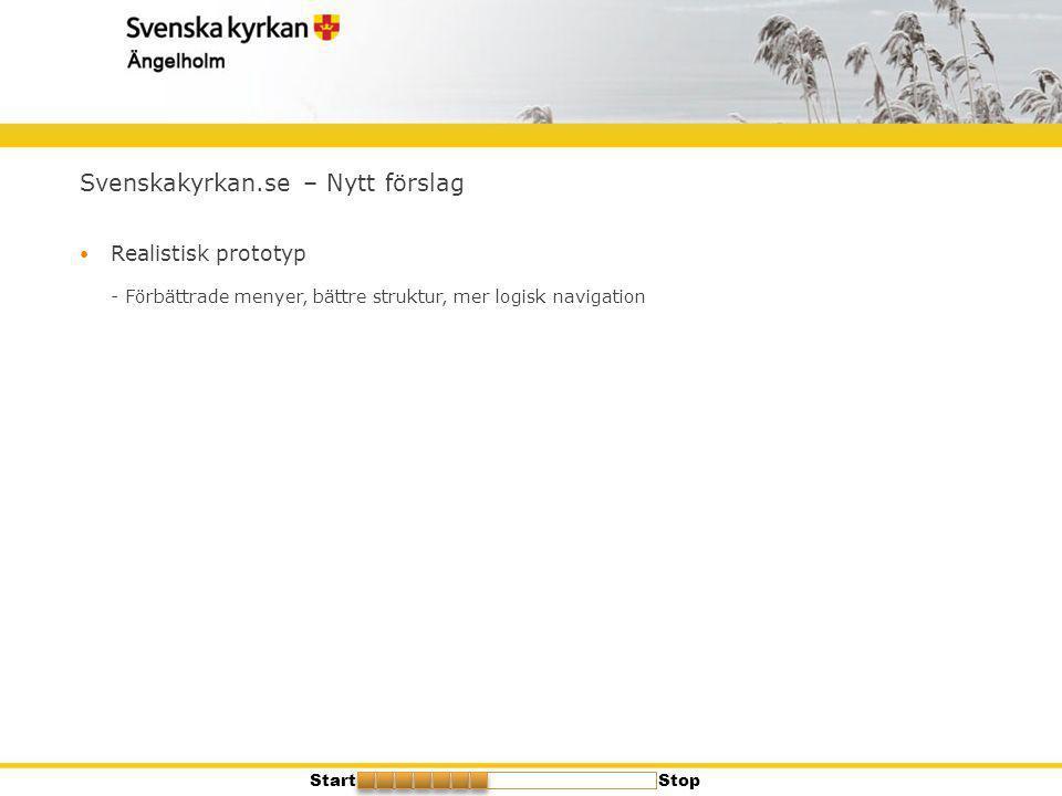 Svenskakyrkan.se – Nytt förslag  Realistisk prototyp - Förbättrade menyer, bättre struktur, mer logisk navigation StartStop